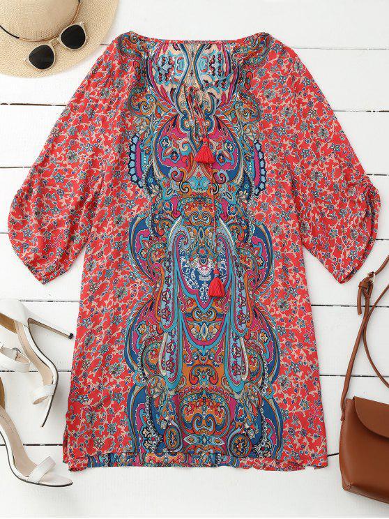 Robe tunique imprimée rétro à manches plissées à motif de paisley - Rouge M
