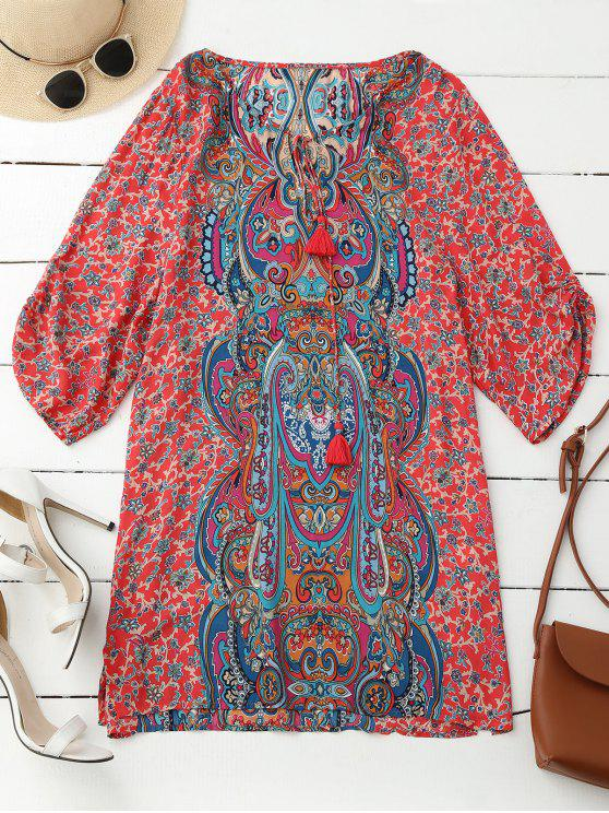 fashion Ruched Sleeve Retro Paisley Print Tunic Dress - RED L