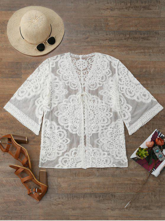chic Lace Kimono Cover Up - WHITE ONE SIZE