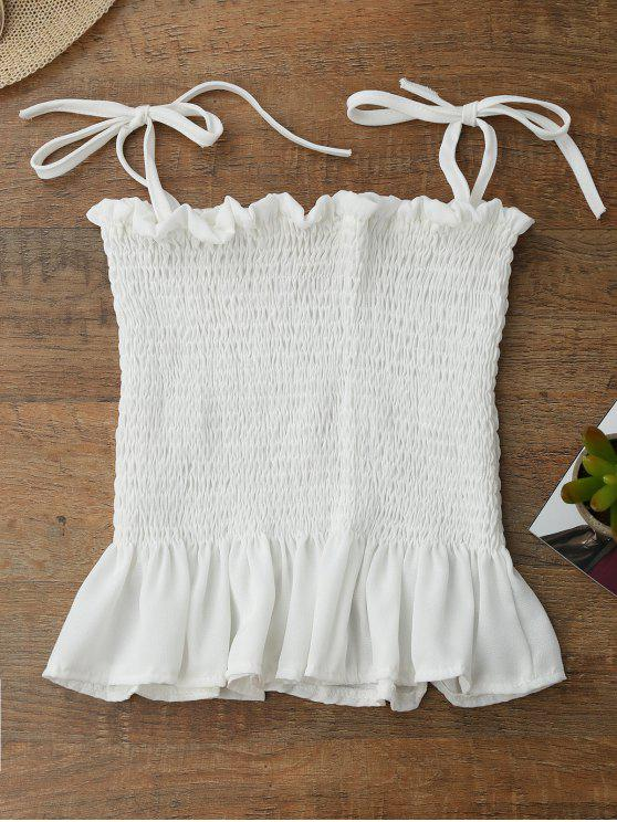 buy Spaghetti Strap Smocked Peplum Tank Top - WHITE ONE SIZE