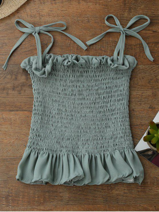 womens Spaghetti Strap Smocked Peplum Tank Top - LIGHT GREEN ONE SIZE