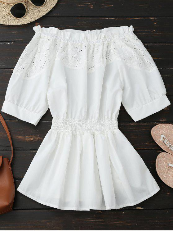 outfits Off Shoulder Hollow Out Peplum Blouse - WHITE M