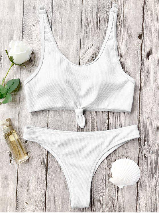 outfits Knotted Bralette High Cut Bikini Set - WHITE S