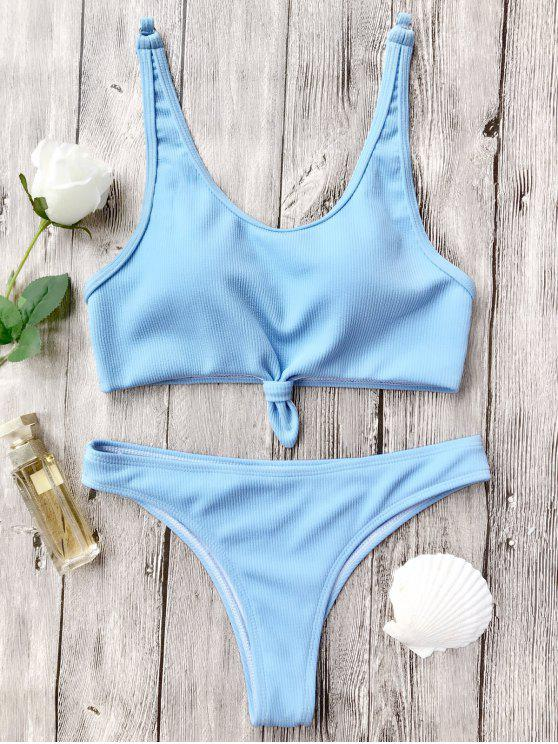 shops Knotted Bralette High Cut Bikini Set - LIGHT BLUE M