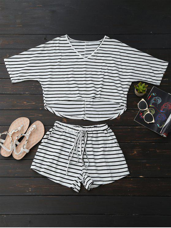 new High Low Striped T-Shirt with Drawstring Shorts - STRIPE M