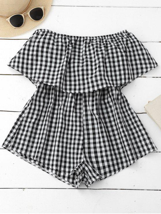 lady Checked Overlay Tube Romper - PLAID S