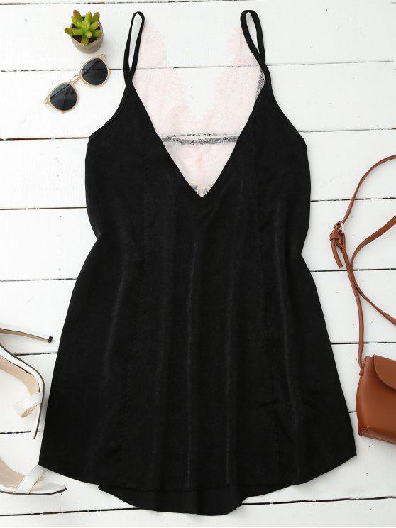 women Cami Lace Panel Satin Backless Dress - BLACK S