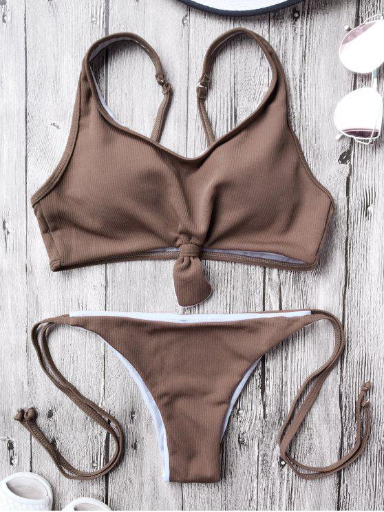 trendy Cami Bralette String Bikini Set - COFFEE S