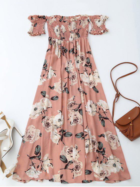Off Shoulder Shirred Slit Floral Maxi Dress - Pink S