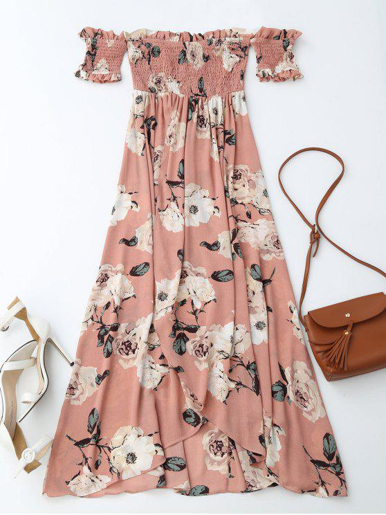 affordable Off Shoulder Shirred Slit Floral Maxi Dress - PINK S