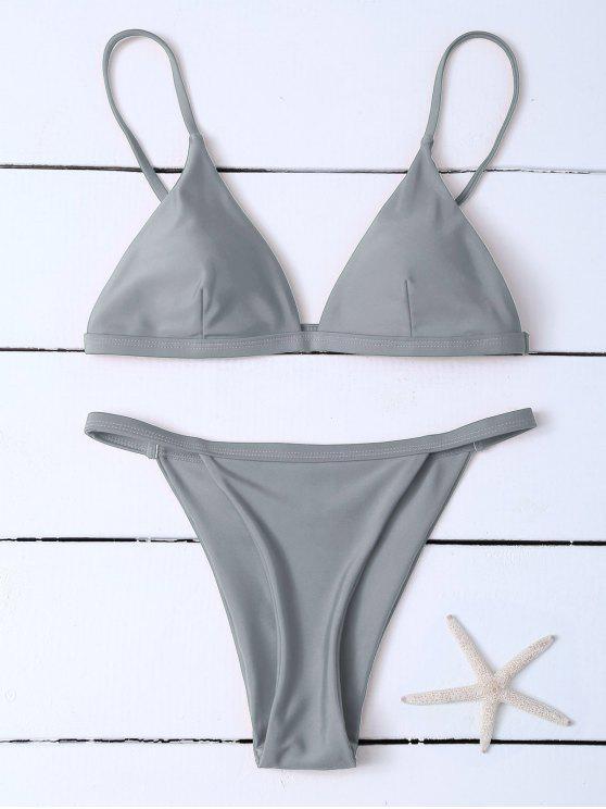 lady Low Waisted Spaghetti Strap Bikini Swimwear - GRAY XL