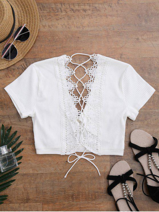 fancy Crochet Panel Plunge Lace Up Cropped Cover Up - WHITE L