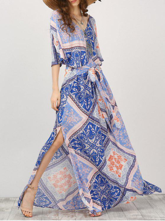 Kimono Sleeve Belted Printed Maxi Dress - Cor Mistura L