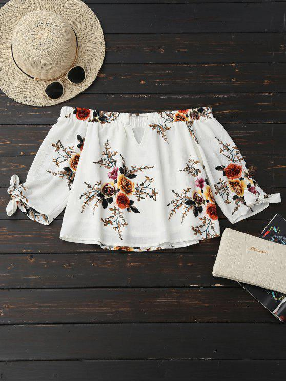 chic Off Shoulder Keyhole Floral Cropped Blouse - WHITE M