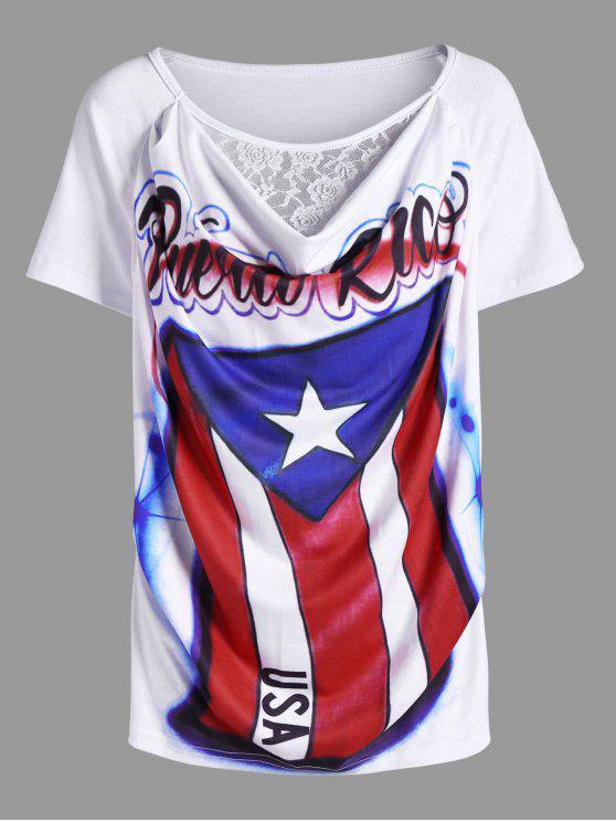 Camiseta Manga Curta Estampa Bandeira Estados Unidos - Branco L