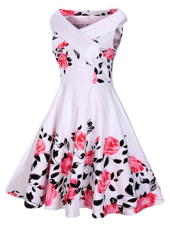 50s فستان توهج طباعة الوردة بلا أكمام - أبيض XL