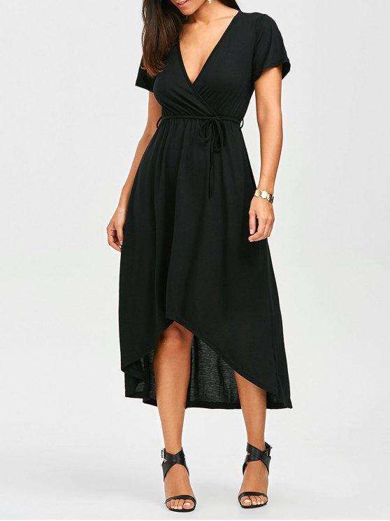 52e0b9420c7 31% OFF  2019 Plunging Neck A Line High Low Casual Surplice Dress In ...