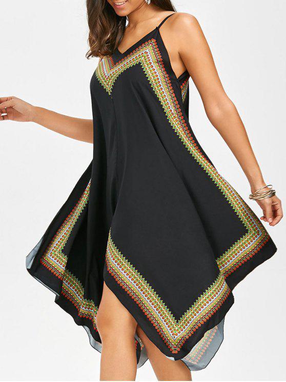فستان مثير منديل طباعة بوهو - أسود L