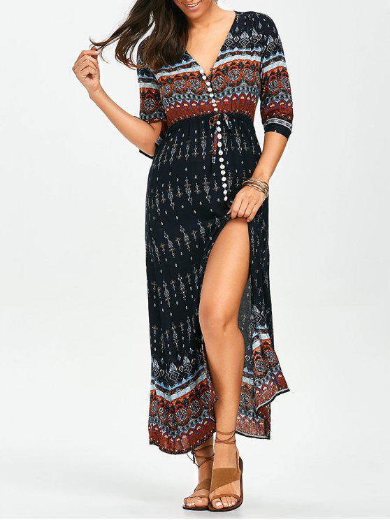 فستان ماكسي بوهيمي انقسام زر طباعة قبلية - Colormix L