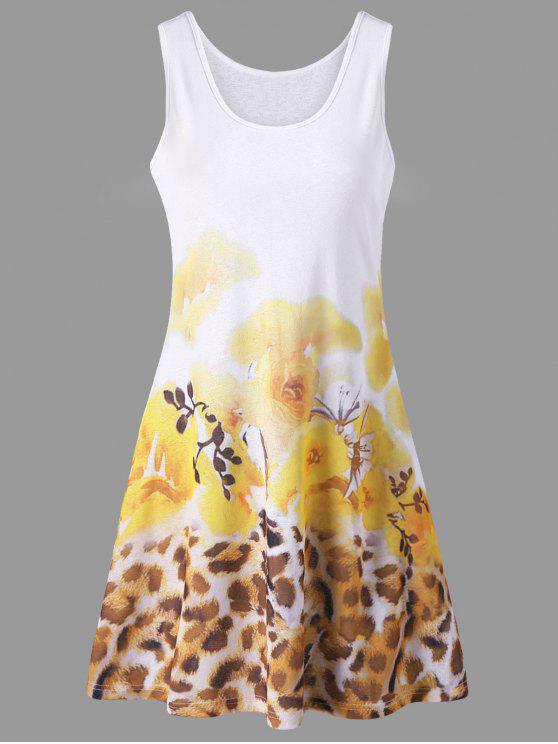 Blumen- und Leopard-Druck-Sommer-Behälter-Kleid - Gelb XL