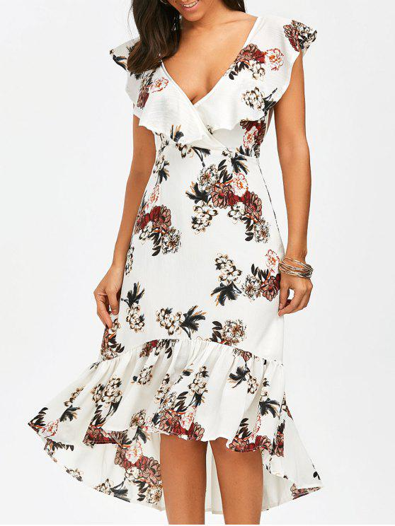 trendy Plunging Floral Ruffle Backless Tea Length Dress - WHITE L