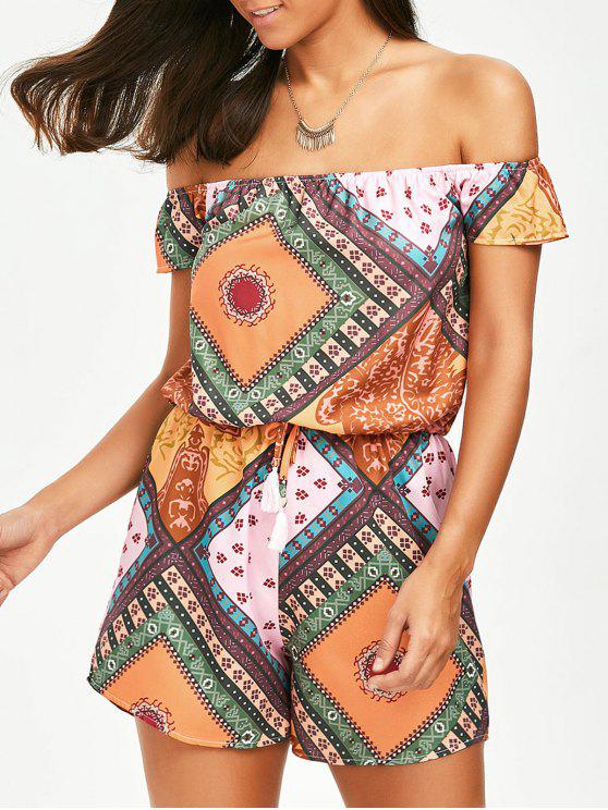 a6fc4220ea8 23% OFF  2019 Off The Shoulder Tribal African Print Romper In ...