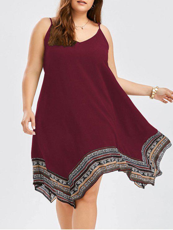 Asymmetric Slip Plus Size Boho Dress BLACK DARK RED PURPLISH BLUE