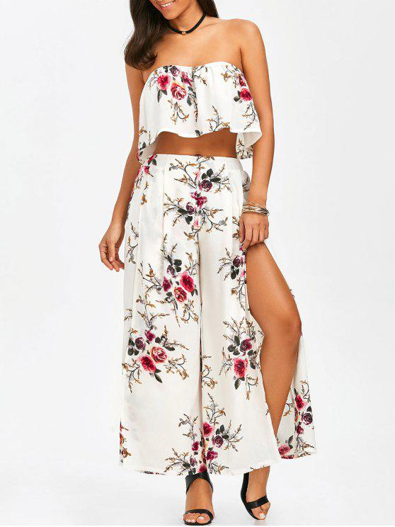 d138532ba6504e 37% OFF  2019 Strapless Ruffle Crop Top And Slit Wide Leg Pants In ...