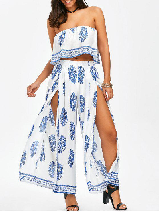 ecbff9f92d4a7d 28% OFF  2019 Strapless Ruffle Crop Top And Slit Wide Leg Pants In ...
