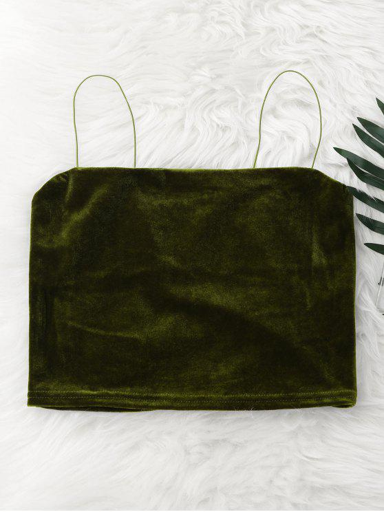 best Cropped Velvet Tank Top - GREEN ONE SIZE