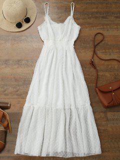 Cami Dot Embellished Ruffle Midi Dress - White