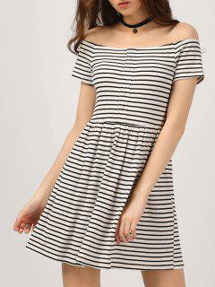 Ribbed Off The Shoulder Casual Dress - Stripe S