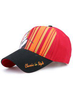 Classical Hepburn Striped Letters Embellished Baseball Hat - Black And Red