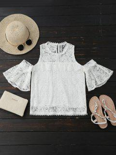 Cold Shoulder Flare Sleeve Lace Top - White M