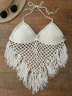 Halter Open Back Crochet Fringe Top - White