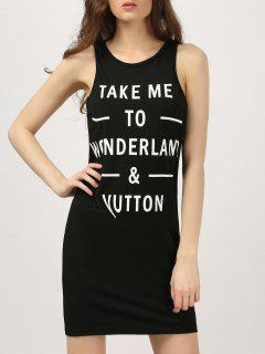 Lettre Bodycon Tank Mini Dress - Noir S