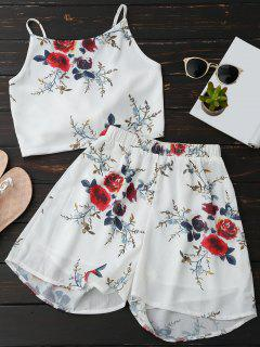 Floral Backless Crop Top And Chiffon Shorts - White L