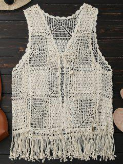 Crocheted Lace Sleeveless Fringed Cover Up - Palomino