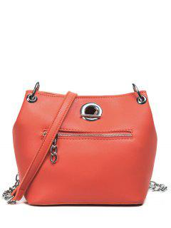 Eyelet Front Zip Crossbody Bag - Orange