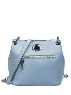 Eyelet Front Zip Crossbody Bag - Blue
