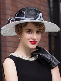 Sunproof Pinstripe Organza Ribbon Fedora Hat - Black White