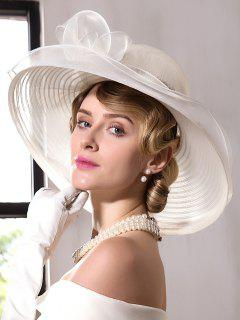 Organza Bowknot Wide Brim Fedora Hat - Ivory White