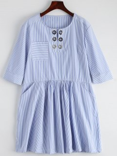 Striped Casual Dress With Pocket - Stripe S