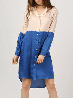Two Tone High Low Shirt Dress - Blue S