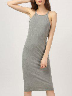Midi High Neck Bodycon Dress - Gray M