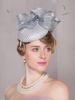 Cambric Feather Organza Floral Pillbox Hoop Hat - Blue Gray