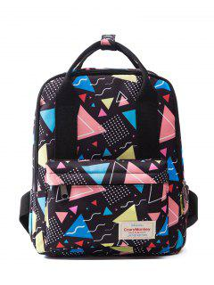 Top Handle Print Backpack - Black
