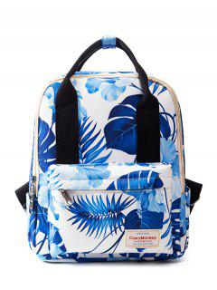 Top Handle Print Backpack - Blue And White