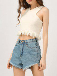 Cropped Ruffles Tank Top - Off-white S