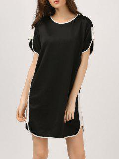 Back Zippered Color Block Casual Dress - Black S